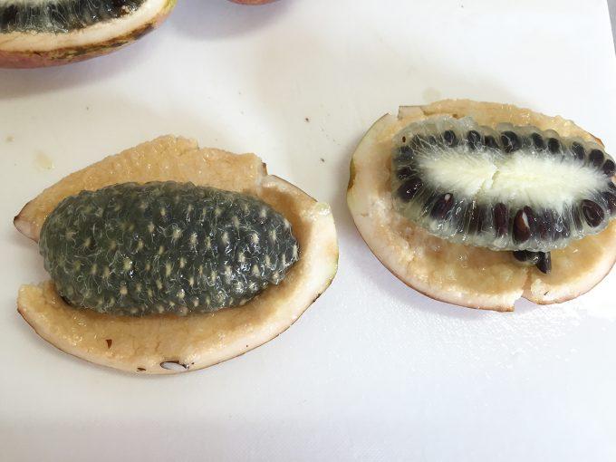 ムベの果実の内側と外側