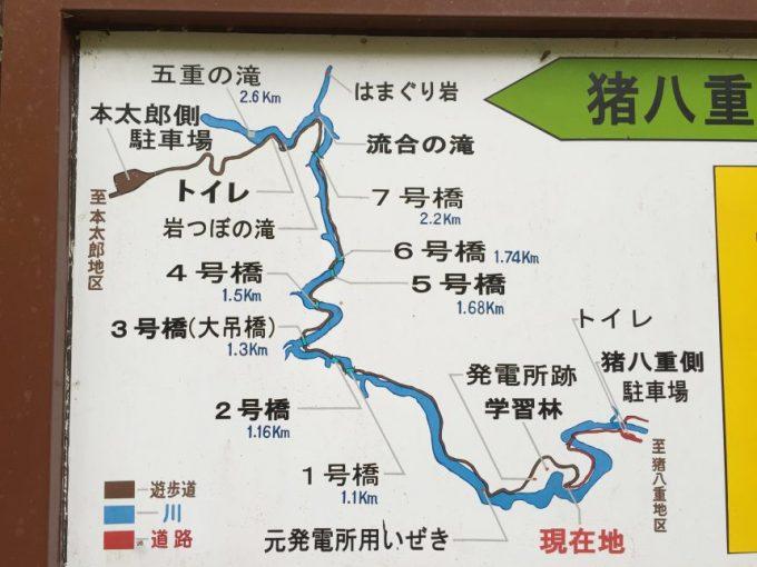 猪八重渓谷の全行程を記す案内看板