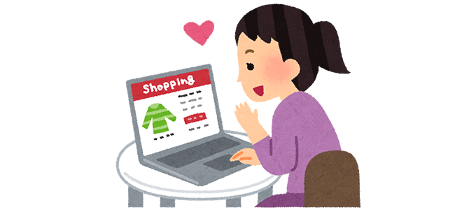ネットで買い物する女性のイラスト