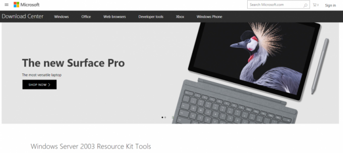 マイクロソフトリソースキットツールのダウンロードページ