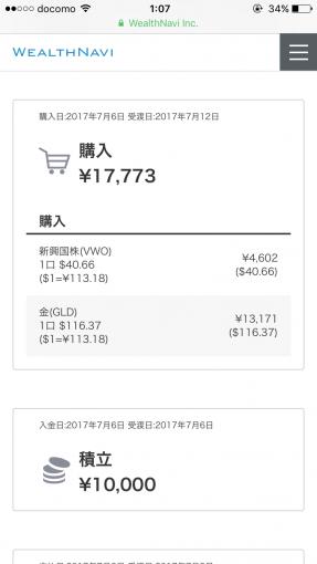 途中買付分のETF(VWO,GLD)