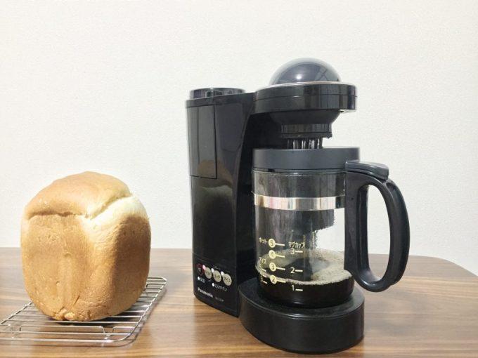 出来上がったコーヒーと無添加国産小麦食パン