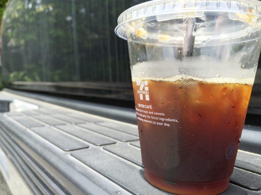 出来上がって車にのせて写真を撮ったセブンコーヒー