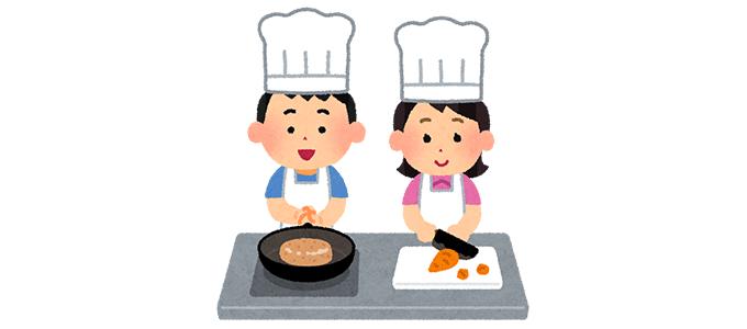 調理するこどものイラスト