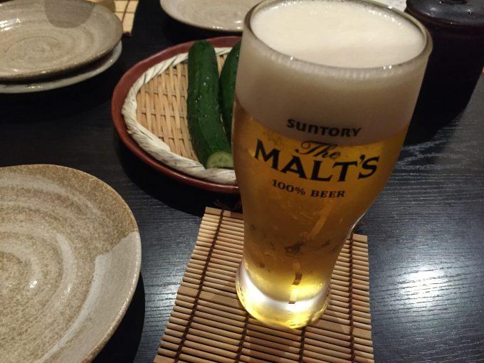 グラスに入った、生ビール