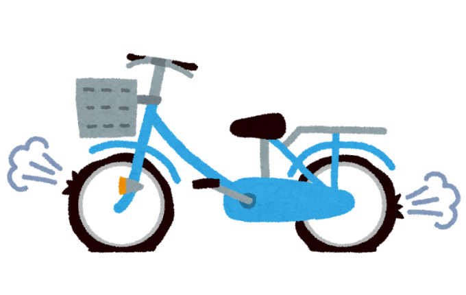 自転車がパンクしたイラスト