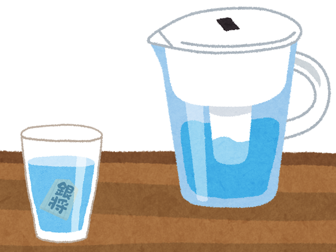 浄水器から入れた水に銀(将棋の銀将の駒)が入っているのを例えたイラスト