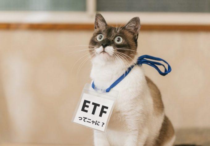 「ETFってニャに?」の名札をぶら下げた猫