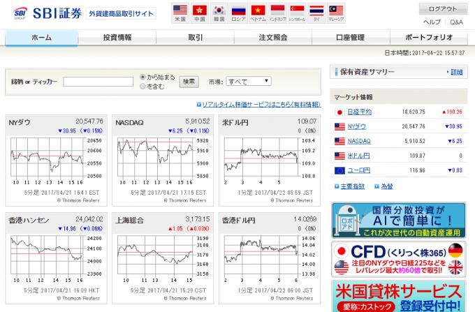 SBI証券の外国株取り引きサイト
