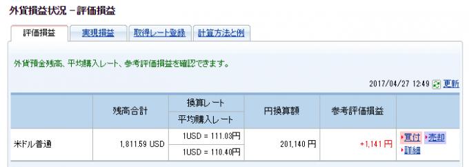 外貨預金でプラスの差益が出た状態の管理画面