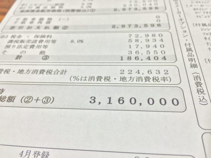 プリウスの見積書の金額