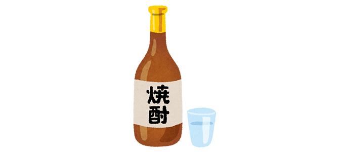 焼酎の瓶とグラスのイラスト