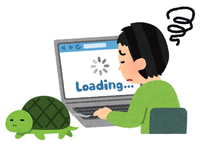 つながらないインターネットの画面を眺める男性の横を歩く亀ノイラスト