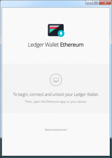 ledger wallet ethereumの起動前の画面