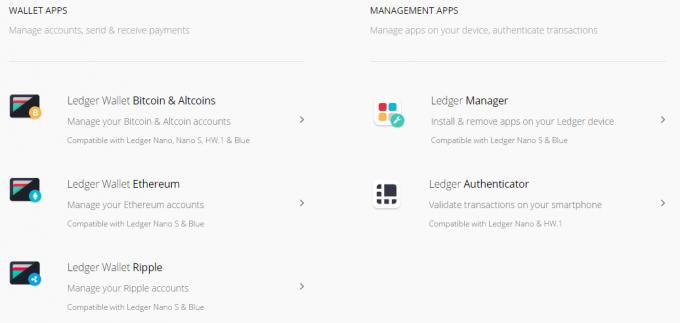 ledger社、公式ダウンロードページ