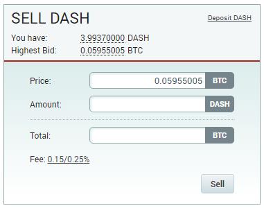 ポロニエックス、dashの売り画面