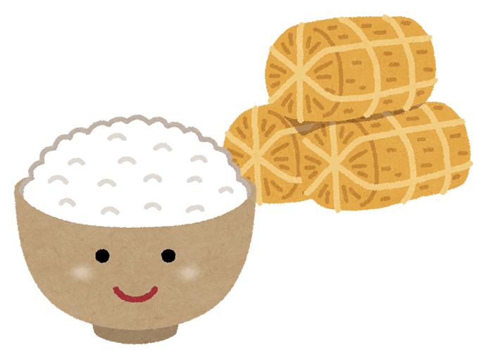 米俵と白ごはんのイラスト