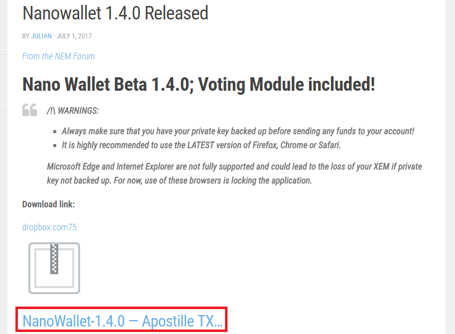 nano wallet ダウンロードページ