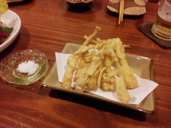 葵屋のメニュー、島らっきょうの天ぷら
