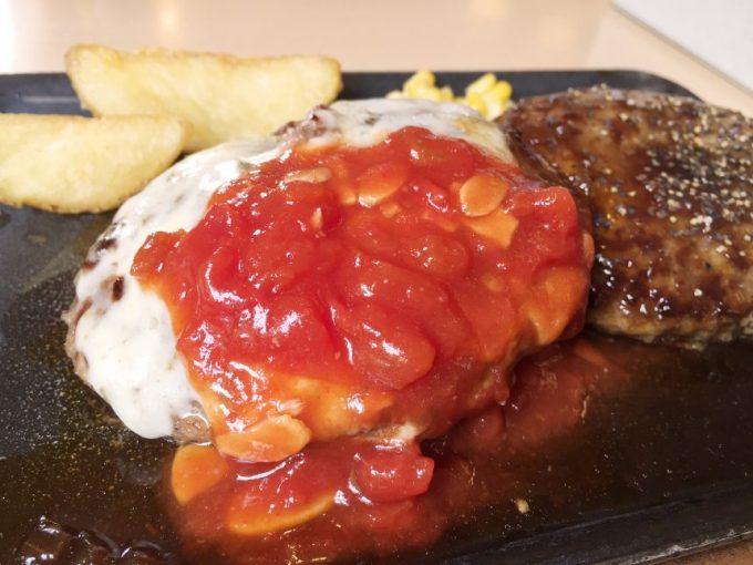 トマトソースがのったイタリアンハンバーグとペッパーハンバーグ
