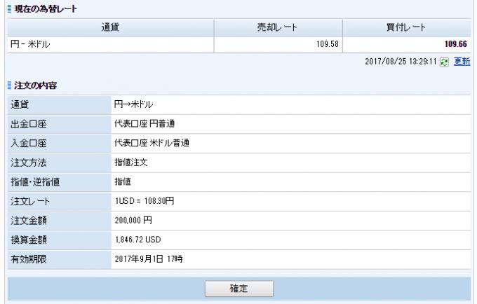 SBIネット銀行のドル円注文確認画面