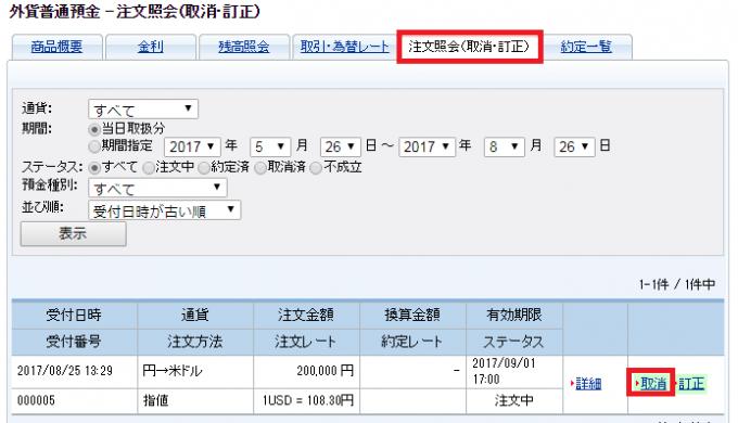 SBIネット銀行のドル円注文取消画面