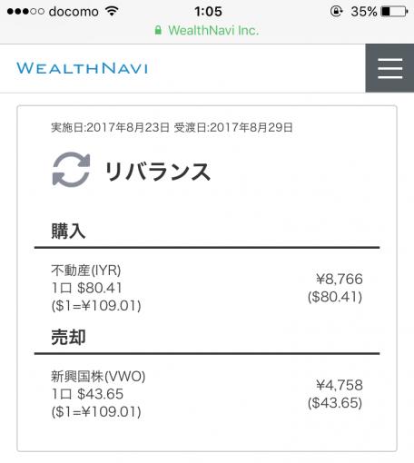 履歴に表示されたリバランス内容(購入ETF内容。売却VWO,購入IYR)