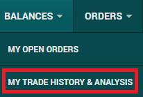 メニューバーの「trade history & analysis」