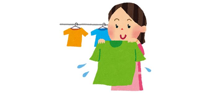 洗濯物をほしているお母さんのイラスト