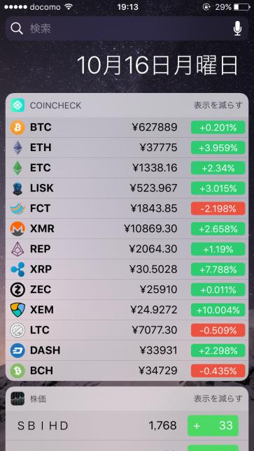10月16日のコインチェックの価格