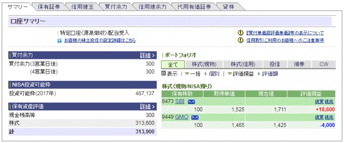 SBI証券、日本株口座サマリー