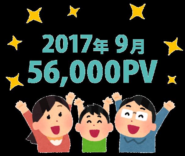 2017年9月のページビューを喜ぶ人のイラスト。56,000PV突破