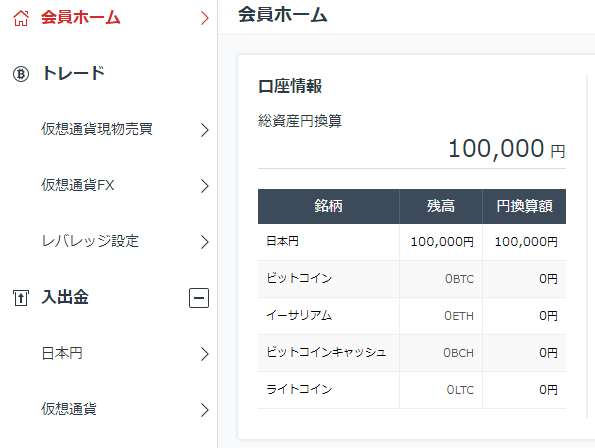 無事入金作業が終わり、管理画面に反映された日本円。