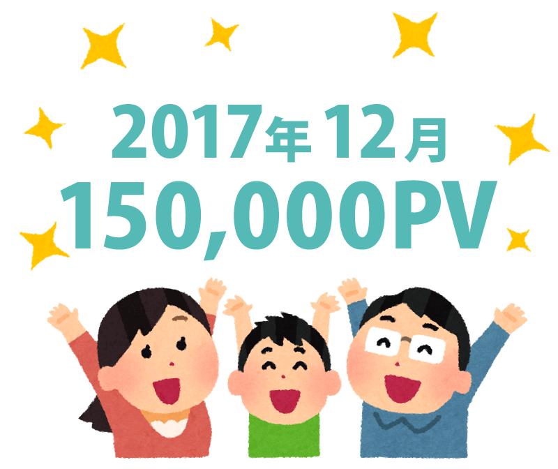 2017年12月のページビューを喜ぶ人のイラスト。150,000PV突破
