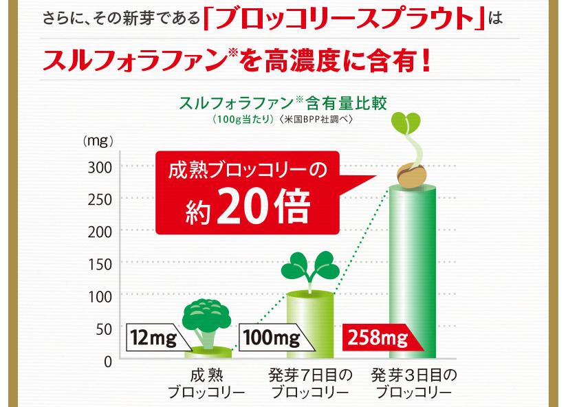 成熟ブロッコリーの20倍の含有量比較グラフ