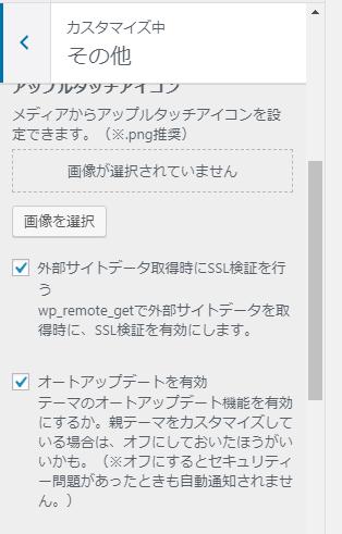 simplicityカスタマイズ画面。簡単SSL対応が表示されない。