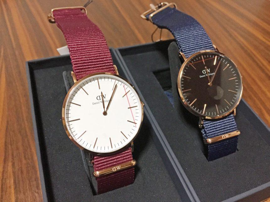 ダニエルウェリントン新作時計Classic Roselyn(ホワイト文字盤)とClassic Bayswater(ブラック文字盤)。入れ替えた状態
