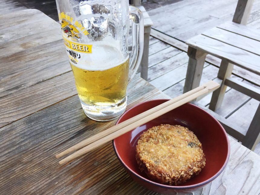 生ビールと西米良コロッケ