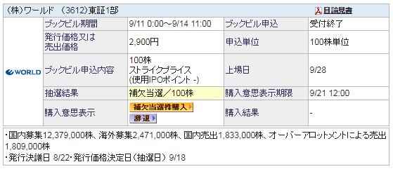 100株補欠当選した(株)ワールド(3612)のIPO
