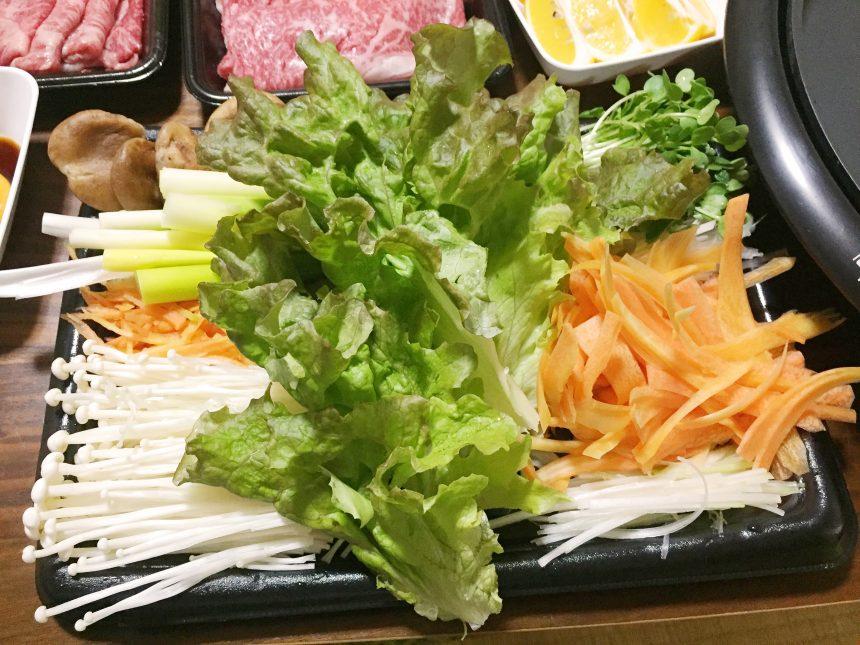 焼きすきやきに巻くために用意した、細切りんの野菜