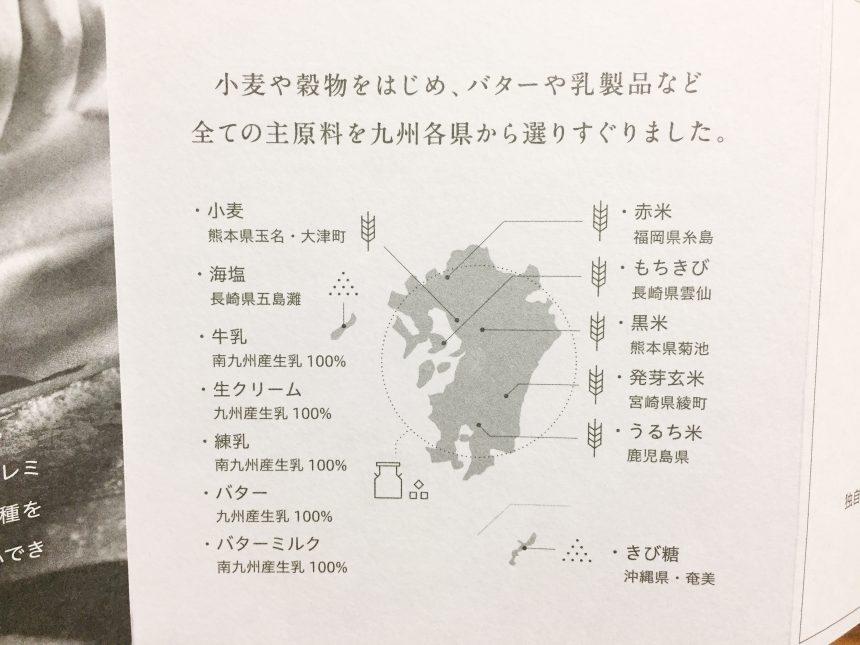 九州各県の主原料がかかれている