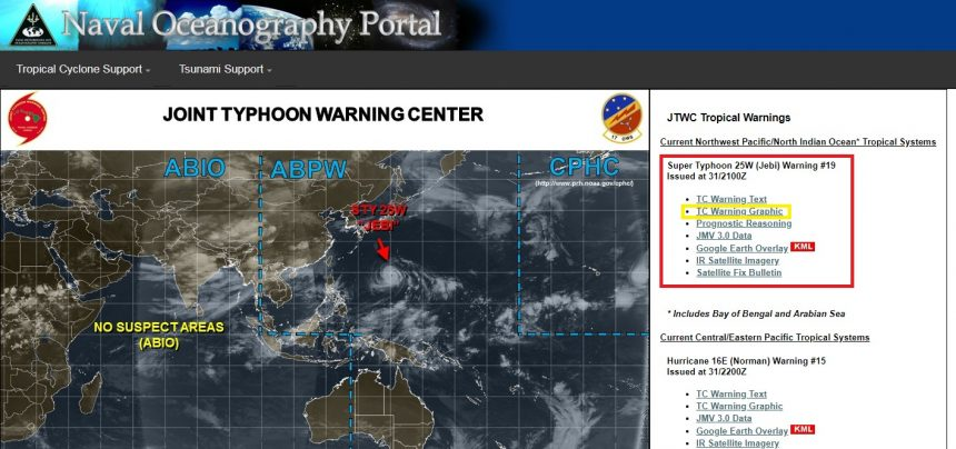 アメリカ海軍海洋学ポータルサイト(navy oceanography portal joint typhoon warning center)