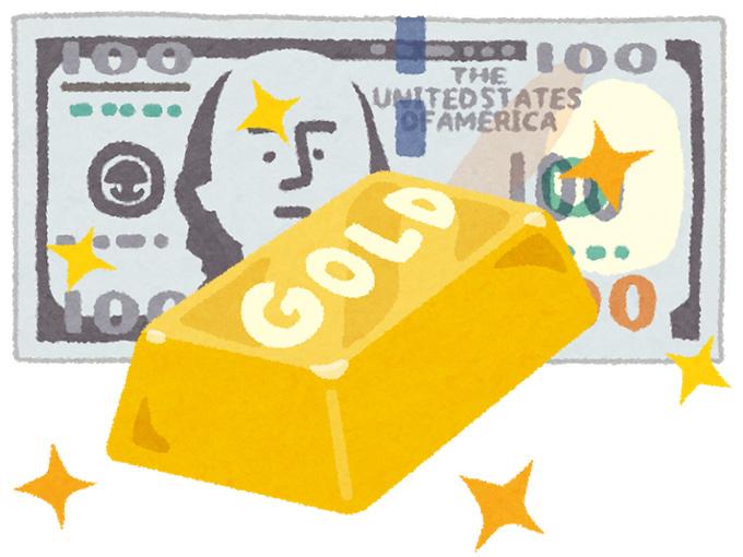 金の延べ棒と100ドル札のイラスト