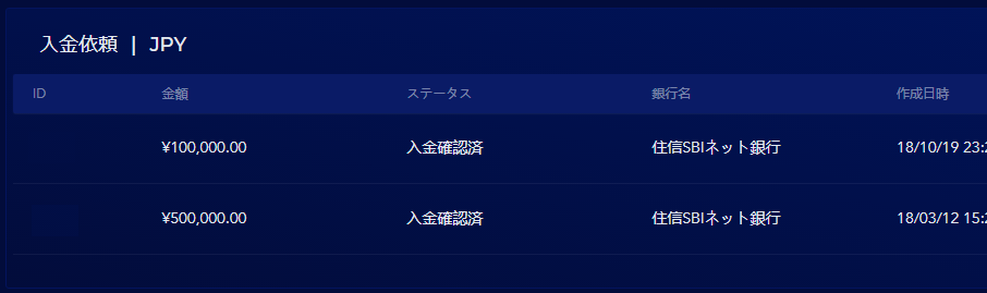 10万円を入金してみた。管理画面