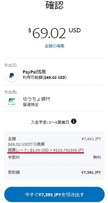 円への換算レートと振込予定金額が表示される