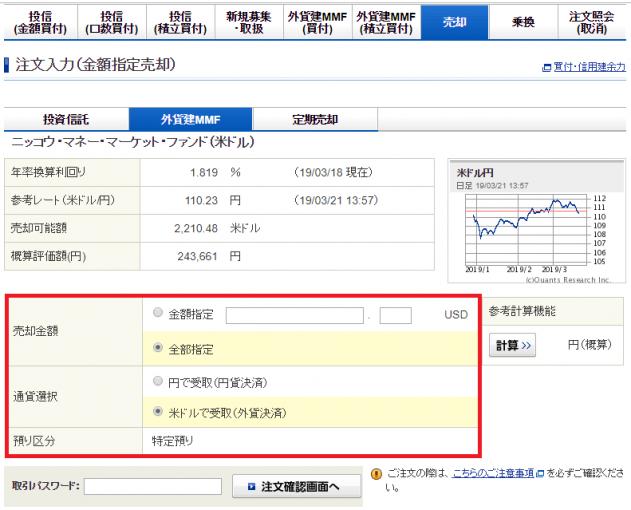 ドル建てMMFの売却方法説明。売却金額と円建てかドル建てかの売却方法を選択する。