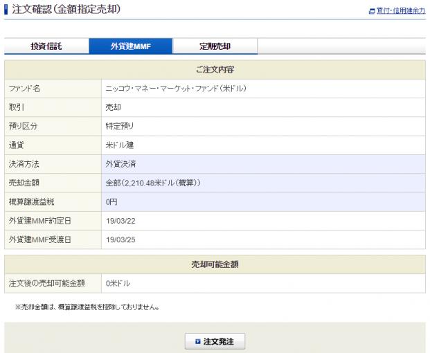 ドルMMF売却注文確認画面。