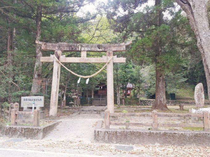 巨田神社の鳥居。奥に社殿が見える。