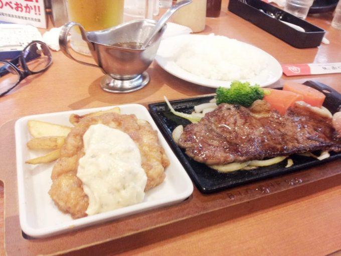 チキン南蛮とステーキのハーフセット