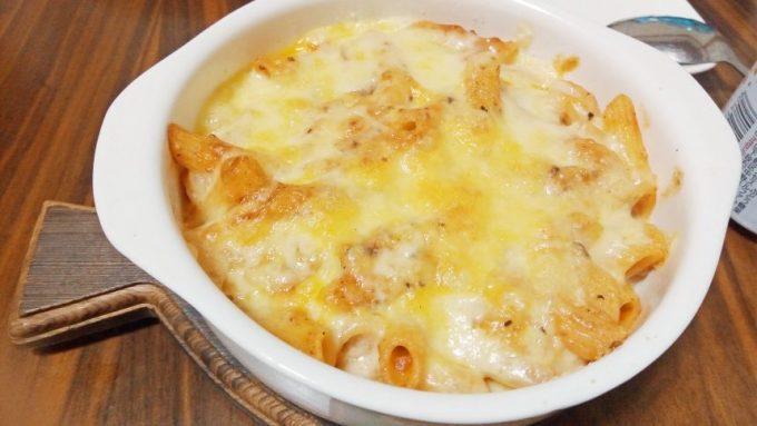 チーズをかけて焼きあがった状態。ペンネアラビアータグランタン